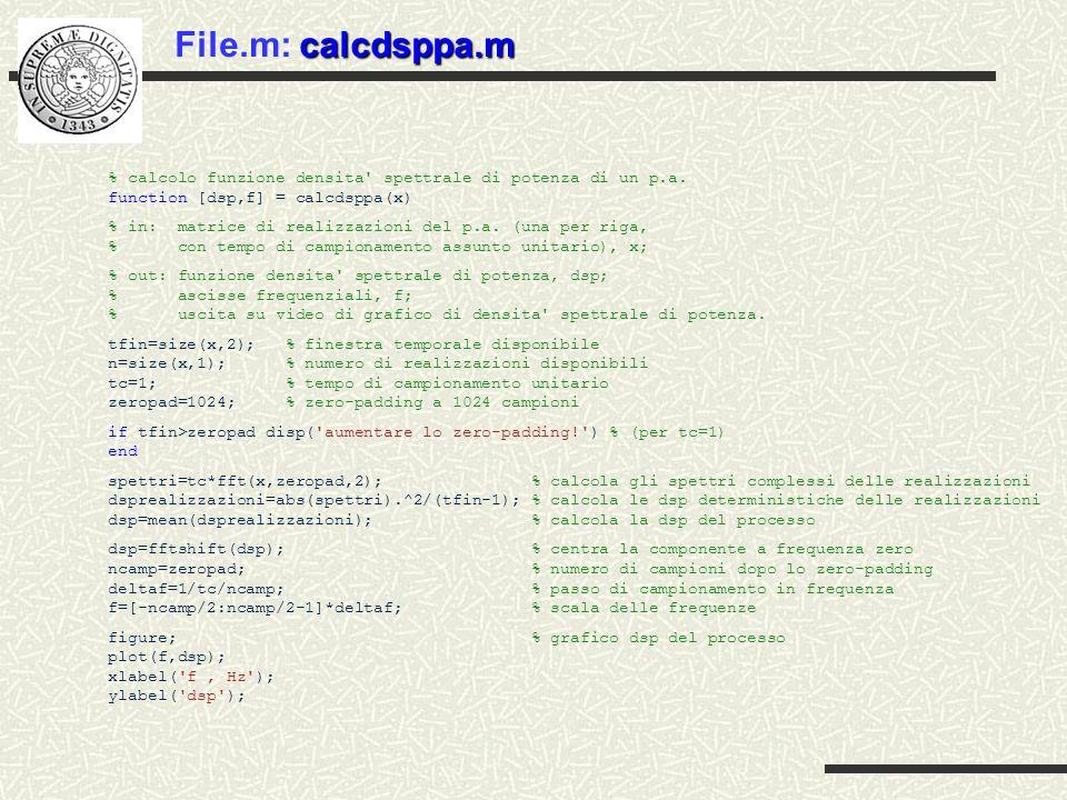 File.m: calcdsppa.m % calcolo funzione densita spettrale di potenza di un p.a. function [dsp,f] = calcdsppa(x)